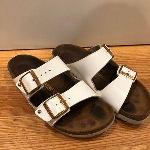 Birkenstock Arizona white and gold sandals